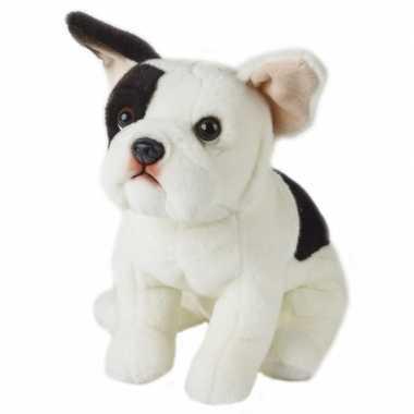 Pluche zittende franse bulldog hond knuffel 23 cm