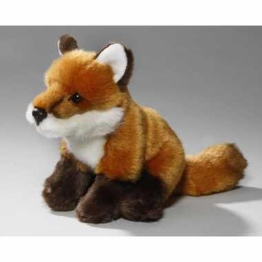 Pluche zittende vos knuffel 17 cm