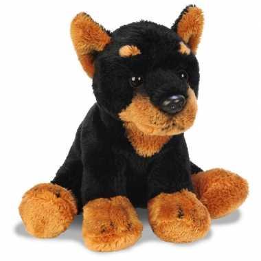 Pluche zwart/bruine doberman honden knuffel 13 cm speelgoed