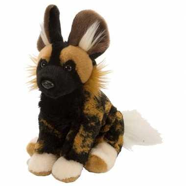 Pluche zwart/bruine hyena knuffel 20 cm speelgoed
