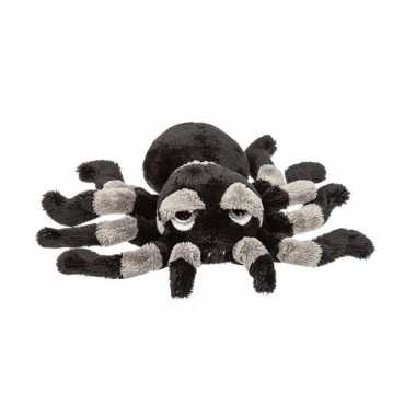 Pluche zwart/grijze spin knuffel 13 cm speelgoed