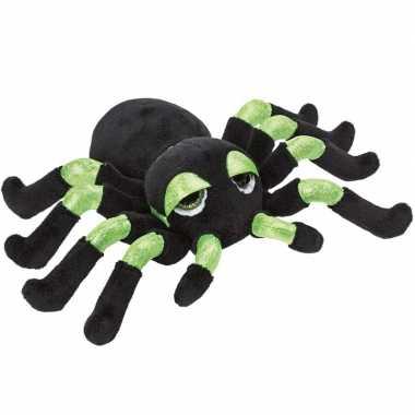 Pluche zwart/groene spin knuffel met glitters 13 cm speelgoed