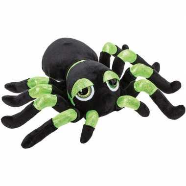 Pluche zwart/groene spin knuffel met glitters 22 cm speelgoed