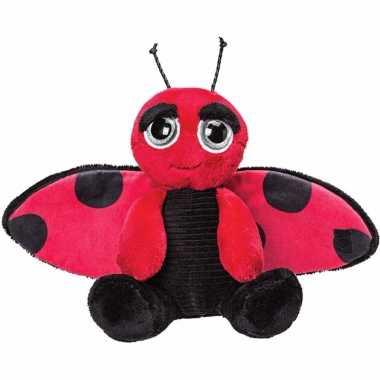 Pluche zwart/rode lieveheersbeestje knuffel 18 cm speelgoed