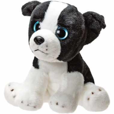 Pluche zwart/witte border collie puppy honden knuffel 14 cm