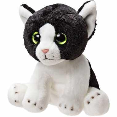 Pluche zwart/witte kat/poes knuffel 14 cm speelgoed