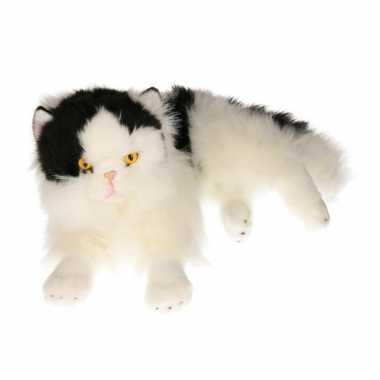 Pluche zwart/witte katten knuffel 35 cm