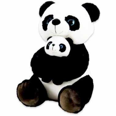 Pluche zwart/witte panda/beren knuffel met baby 32 cm speelgoed