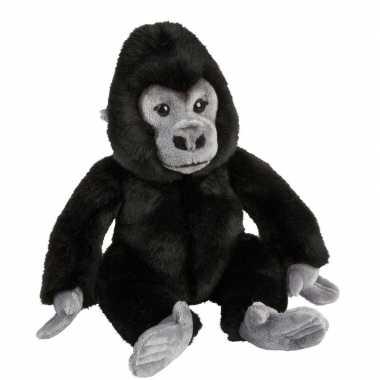 Pluche zwarte gorilla aap/apen knuffel 28 cm speelgoed