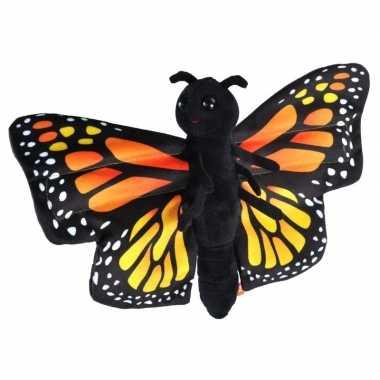 Pluche zwarte monarchvlinder knuffel 20 cm speelgoed