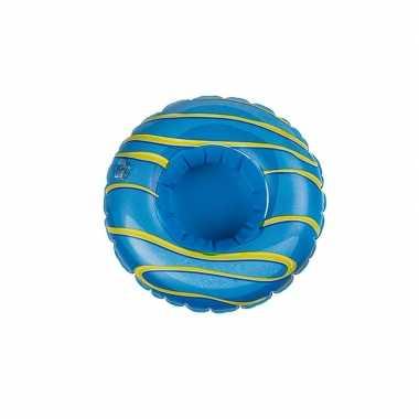 Poppen/knuffel opblaas zwemband blauw donut 16 cm