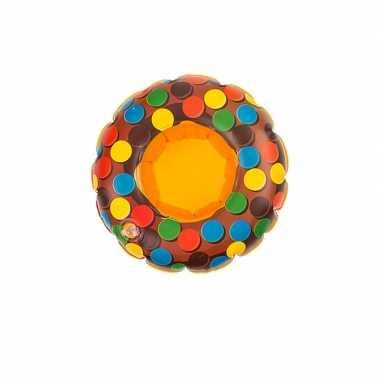 Poppen/knuffel opblaas zwemband bruin donut 16 cm