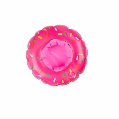 Poppen/knuffel opblaas zwemband roze donut 16 cm