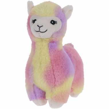 Roze/geel/paarse pluche alpaca/lama knuffel 19 cm