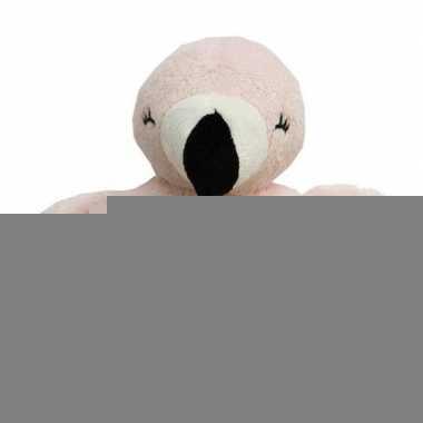 Roze knuffel rammelaar flamingo