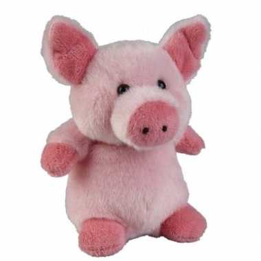 Roze pluche varken/biggetje knuffel 12 cm speelgoed