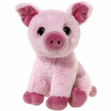 Roze pluche varken knuffeltje 14 cm