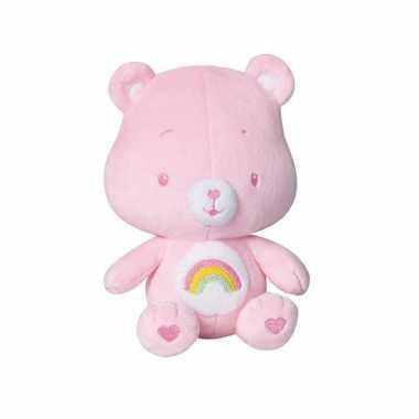 Roze troetelbeer knuffel met rammelaar 16 cm