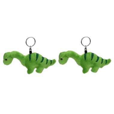 Set van 2x stuks pluche mini knuffel brontosaurus dinosaurus sleutelhanger 16 cm