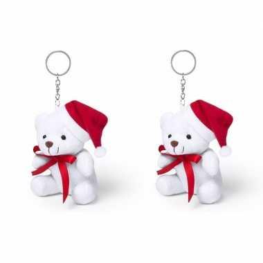 Set van 2x stuks sleutelhanger mini knuffel witte kerst beer 10 cm