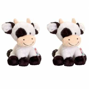 Set van 3x stuks keel toys zwart/witte pluche koe/koeien knuffels 14 cm