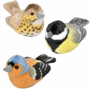 Set van 3x stuks pluche vogels knuffels van 14 cm met geluid