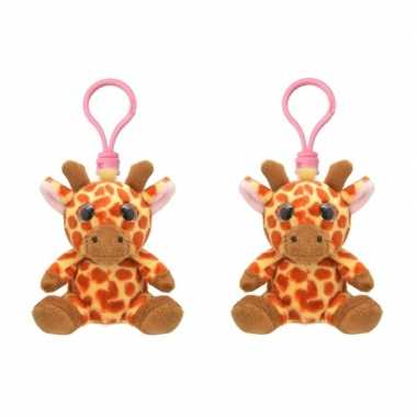 Set van 4x stuks pluche mini knuffel giraf sleutelhanger 9 cm