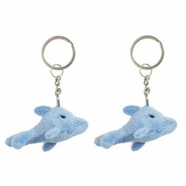 Set van 6x stuks pluche dolfijnen knuffel sleutelhanger 6 cm