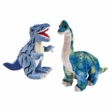 Setje van 2x knuffel dinosaurussen t rex en brachiosaurus