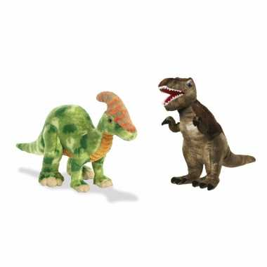 Setje van 2x knuffel dinosaurussen t rex en parasaurolophus