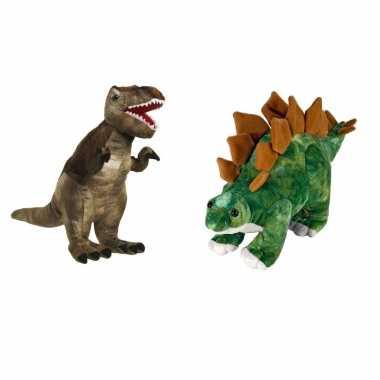 Setje van 2x knuffel dinosaurussen t rex en stegosaurus