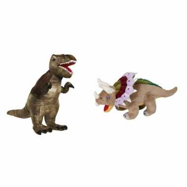Setje van 2x knuffel dinosaurussen t rex en triceratops