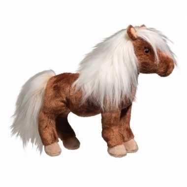 Shetland pony paardje knuffel bruin met wit van 22 cm