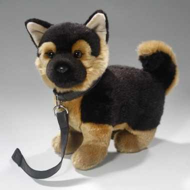 Speelgoed duitse herdershond knuffel 22 cm met riem