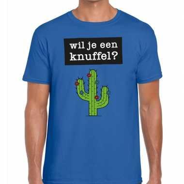 Toppers wil je een knuffel heren t-shirt blauw