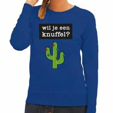 Toppers wil je een knuffel tekst sweater blauw voor dames
