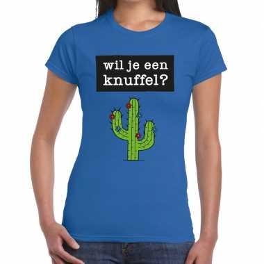 Toppers wil je een knuffel tekst t-shirt blauw dames