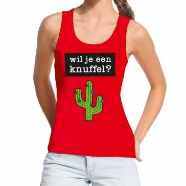 Toppers wil je een knuffel tekst tanktop / mouwloos shirt rood dames