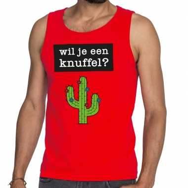 Toppers wil je een knuffel tekst tanktop mouwloos shirt rood