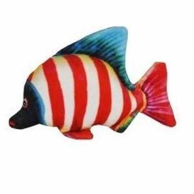 Tropische pluche knuffel vis wit en rood gestreept 25 cm