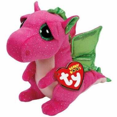 Ty beanie knuffel roze draak 15 cm