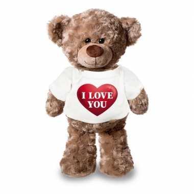 Valentijn knuffel beertje met i love you hartje shirt 24 cm