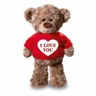 Valentijn knuffel teddybeer met i love you hartje rood shirt 24 cm