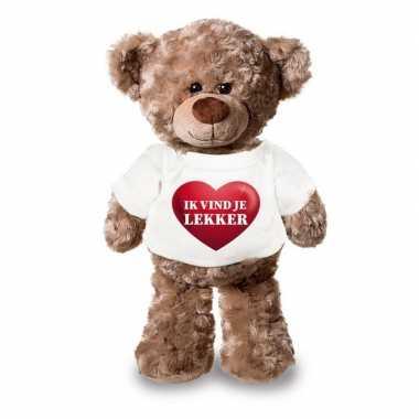 Valentijn knuffel teddybeer met ik vind je lekker hartje shirt 24 cm