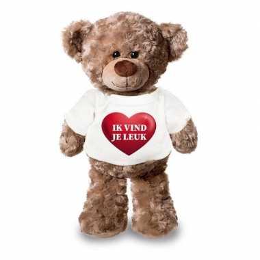 Valentijn knuffel teddybeer met ik vind je leuk hartje shirt 24 cm
