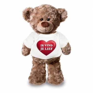 Valentijn knuffel teddybeer met ik vind je lief hartje shirt 24 cm