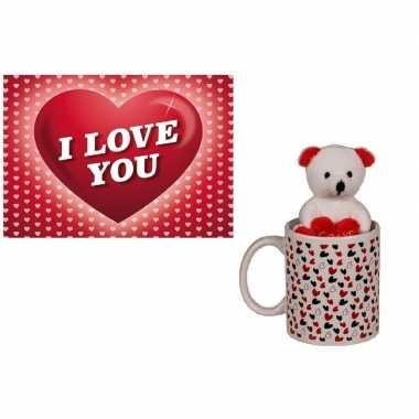 Valentijn valentijnscadeau beker met knuffelbeer en valentijnskaart