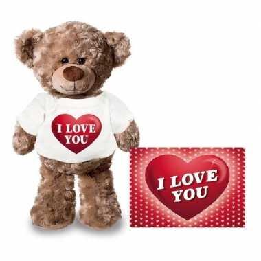 Valentijn valentijnskaart en knuffelbeer 24 cm met i love you hartje