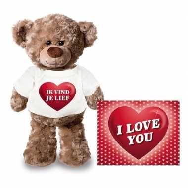 Valentijn valentijnskaart en knuffelbeer 24 cm met ik vind je lief sh