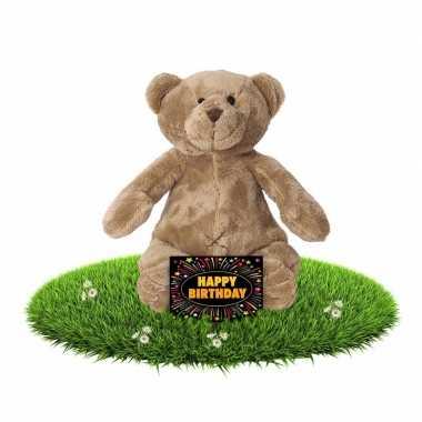 Verjaardag knuffel beer 17 cm + gratis verjaardagskaart